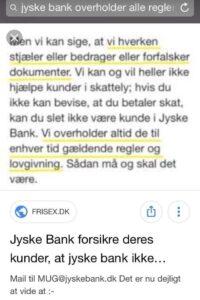 Anders Dam svare 1 februar 2019 på anklager om hans og iøvrigt bankens bedrageri anklager  At koncernen ikke har nogle bemærkninger  Altså Anders Dam er en fej kryster og bangebuks der ikke tør tage en dialog om bankens bedrageri