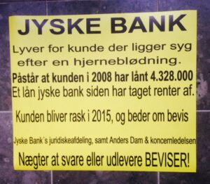 Sagen BS 1-698/2015 Handler om jyske Banks bedrageri, og hvordan banken  og deres advokater  Lund Elmer Sandager  Lyver i retsforhold  :-) Kære Anders Dam    - -     7. februar. Kan dine kunder have tillid til at Jyske Banks koncernledelse, og dig som lederen  Kan den Danske befolkning have tillid til jyske bank, at du samt  koncernenbestyrelsen, ikke også vil bedrage bankens andre kunder, hvis i får muligheden for det. Hvordan vil jyske bank og ledelsen, garantere befolkningen at banken ikke også fremover, vil bedrage kunderne.  :-) :-) ER DU REKLAME MAND Og vil du være med til at dekorer bilerne  inden de skal parkeredes i Viborg, i forbindelse med sagen hvor CEO Anders Dam og ledelsens bedrageri mod os, bliver forklaret. - Efter 19 februar skal vi have skiftet nogle reklamer ud på bilerne, vil du komme med input så send dem her på fb  Hjælp med lidt nyt reklame på vores biler og hjemmesider, der er beskrivende for sagen  - Der er frit valg af tekster Bare det er noget vi kan bevise, som bestyrelsens medvirken til bedrageri  Vi udskifter de reklamer, du ønsker for at blive mere precise om jyske banks nu meget grove bedrageri. ALTSÅ TEKSTER SKAL VI KUNNE BEVISE VÆRENDE SANDE Læs anklager mod banken Bilag 100. & 101.  Samt Bilag 102. brevet til bestyrelsen 28 januar  Se billeder og print dem ud. :-) Bilag 102 er Brevet fra 28. Januar,  Dette skal vores advokat fremlægge såfremt jyske bank 19 februar fastholder Bilag 1. Rentesikring af 16-07-2008 :-) Om det er svig eller bedrageri, er det samme  Jyske bank er dybt kriminelle, hvilket vi vil forklare til dommeren under hovedforhandling  - Selvfølge under vidne forklaring, hvor vil vi forklare bankens omfattende svig, med henvisning til de omfattende bevismateriale, hvor Philip Baruch uheldigvis selv ledte os ind på sporet af bedrageriet. Da Philip Baruch ved en fejl kom til at fremlægge, den aftalte rentesikring, Bilag E.5 hvilket understøtter at at Lund Elmer Sandager var i besiddelse af flere bilag, som advokat virk