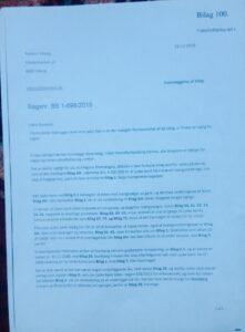 Vidne forklaring i jyske Banks bedrageri  - Bilag 100. Side 1 Fremlagt retten  Og bestyrelsen jyske bank