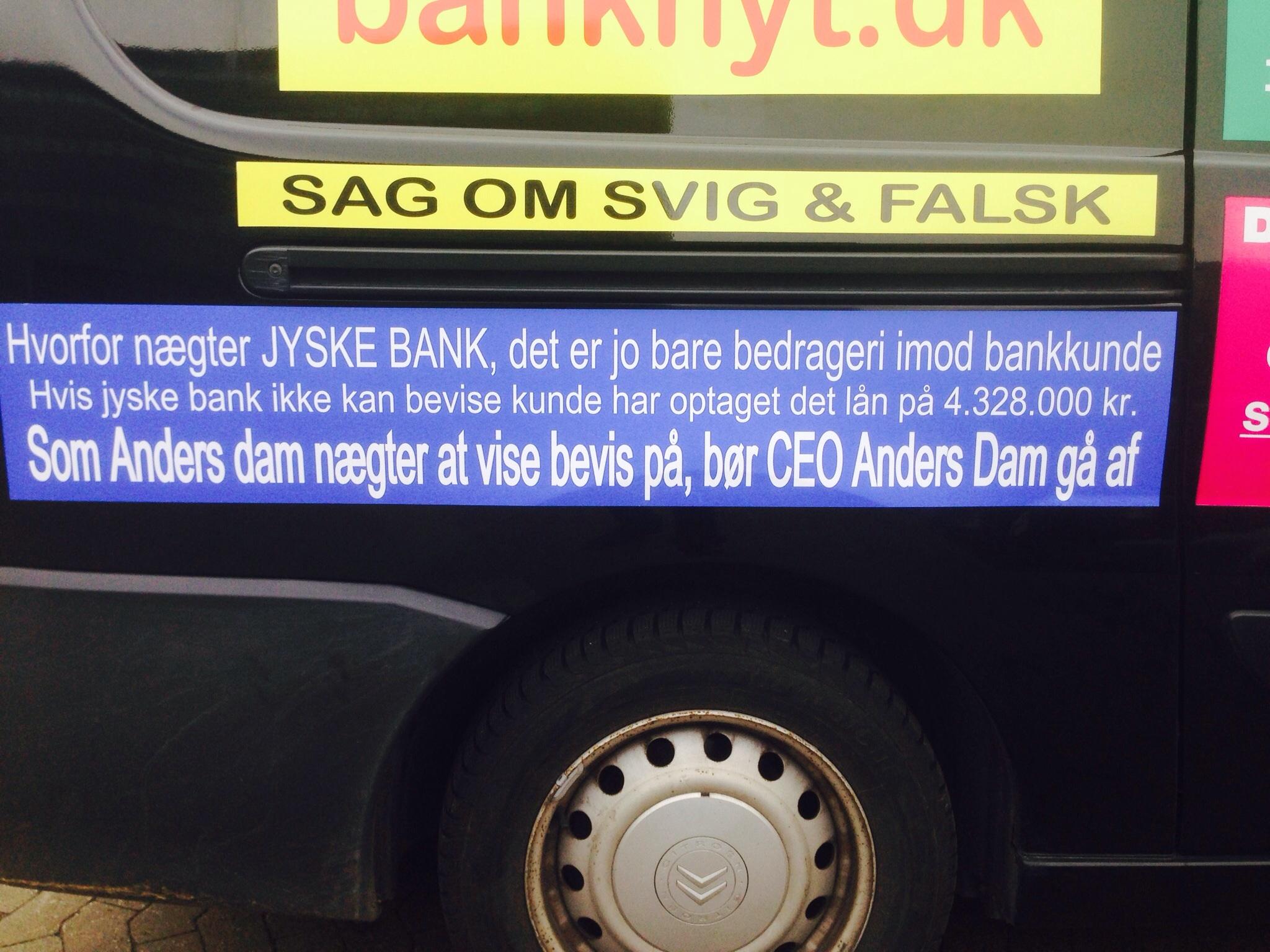 Denne her er lang, men om et alvorligt samfunds problem, om de danske bankers manglende hæderlighed, eller deres uhæderlighed :-) Kunder i jyske bank skal nok fortsat forvente, at banker som jyske bank, ikke vil holde sig tilbage i jagt på dine penge. DET ER ET SAMFUNDS PROBLEM AT DANSKE BANKER SOM JYSKE BANK LAVER OG FORTSÆTTER BEDRAGERI EN BANK SOM NÆGTER AT VISE KUNDE DOKUMENTATION PÅ ET PÅSTÅET LÅN ET LÅN SOM JYSKE BANK I 10 ÅR HAR TAGET RENTER FOR, MED PÅSTAND OM EN RENTE SIKRING PÅ DETTE PÅSTÅET BAGVEDLIGGENDE LÅN. :-( At bedrageri mod bankens kunder, ikke er hindring for jyske banks i bankens jagt På profit til bankens aktionærer som ATP :-( ATP pensions selskabet som de fleste Danskere er en del af, kender til Jyske Banks bedrageri ATP fondens bestyrelse er fuldt ud oplyst ved beviser og orienteret om at jyske bank udsætter kunder for groft tvang, udnyttelse og bedrageri :-( :-( Da jyske bank fortsætter bedrageri banken er velvidende om. Kan kun være fordi at Bedrageriet sker med fuld opbakning fra den samlede koncernledelse i jyske bank. Og bankens leder CEO direktør, som Anders Dam Vil jyske bank arbejde, for at kunne fortsætte bankens bedrageri imod os kunder JYSKE BANK ER. Uetisk Uhæderlig Ja jyske bank er direkte kriminel i bankens handling, det er fortsat. :-) MON VI ER VI DE ENSTE JYSKE BANK UDSÆTTER FOR BEDRAGERI NÆPPE Vi var bare den der først fanger jyske bank i et udspekuleret, og et sadledes endog meget groft bedrageri imod bankens kunde. :-( :-( HVEM KA JYSKE BANK KA Sponsor Boxen i Herning Jyske Bank Boxen byder på bl.a. koncerter, shows og sport. Se programmet her. Oversigt over kommende arrangementer. :-( :-( Taler om et bedrageri Jyske Banks Koncernledelse, siden bankens bestyrelse i april / maj måned 2016 Da Bankens Advokat Morten Ulrik Gade Og bankens Advokater Lund Elmer Sandager Ligesom direktør og ordstyrende formand CEO Anders Dam Og igen bestyrelsen i jyske bank - Direkte meget klart og tydligt, blivet oplyst om forhold Så at bankens 